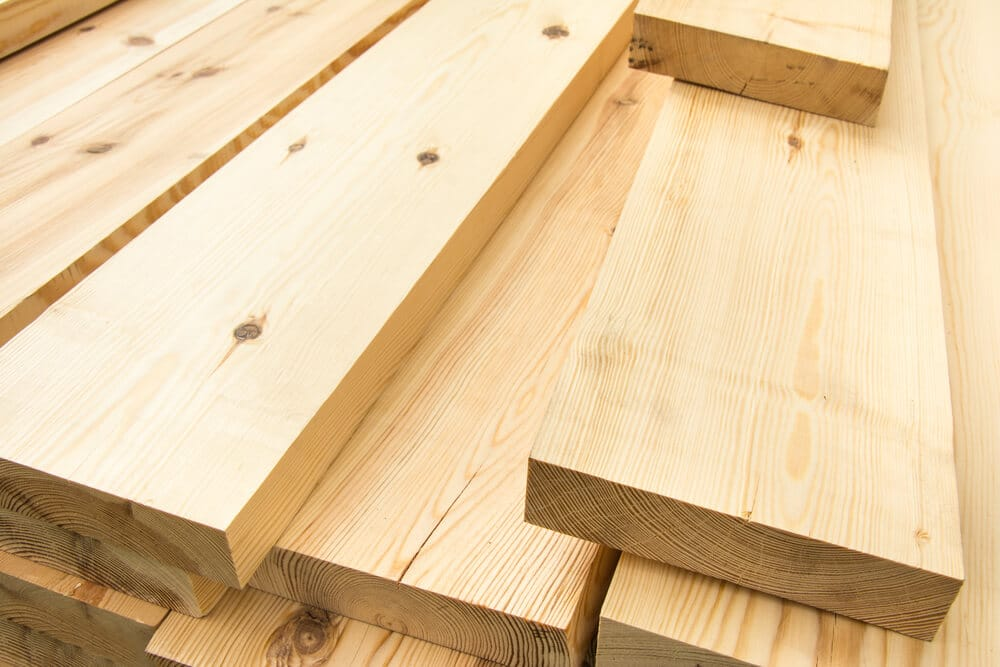 A pile of cut lumber