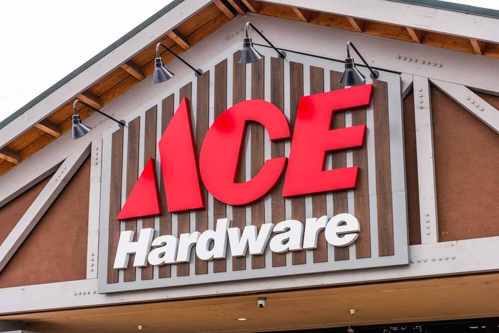 Sign above the front entrance of an Ace Hardware store