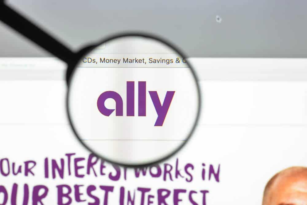 Computer screen showing Ally website