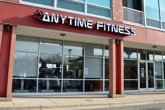 Exterior of an Anytime Fitness gym