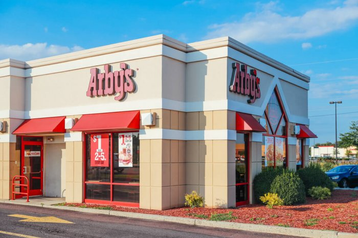Exterior of an Arby's with a drive-thru