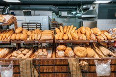 Fresh baked bread on display at a bakery that accepts EBT