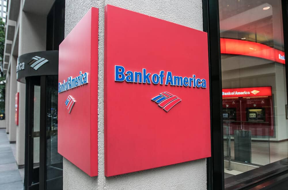 Bank of America sign in front of a branch