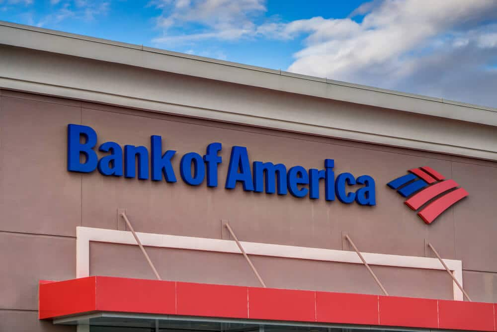Exterior of a Bank of America branch