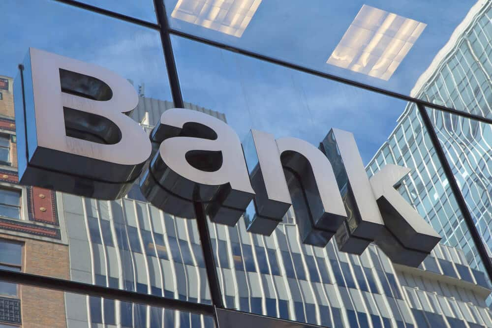 """""""Bank"""" sign on the outside of a bank building"""