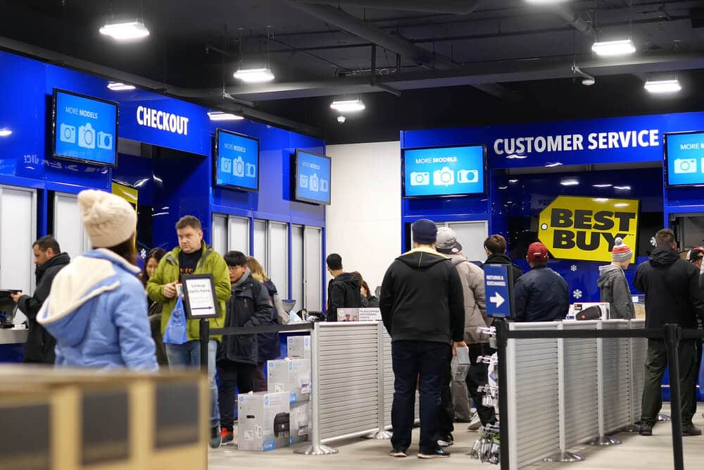 Customer service area of a Best Buy store