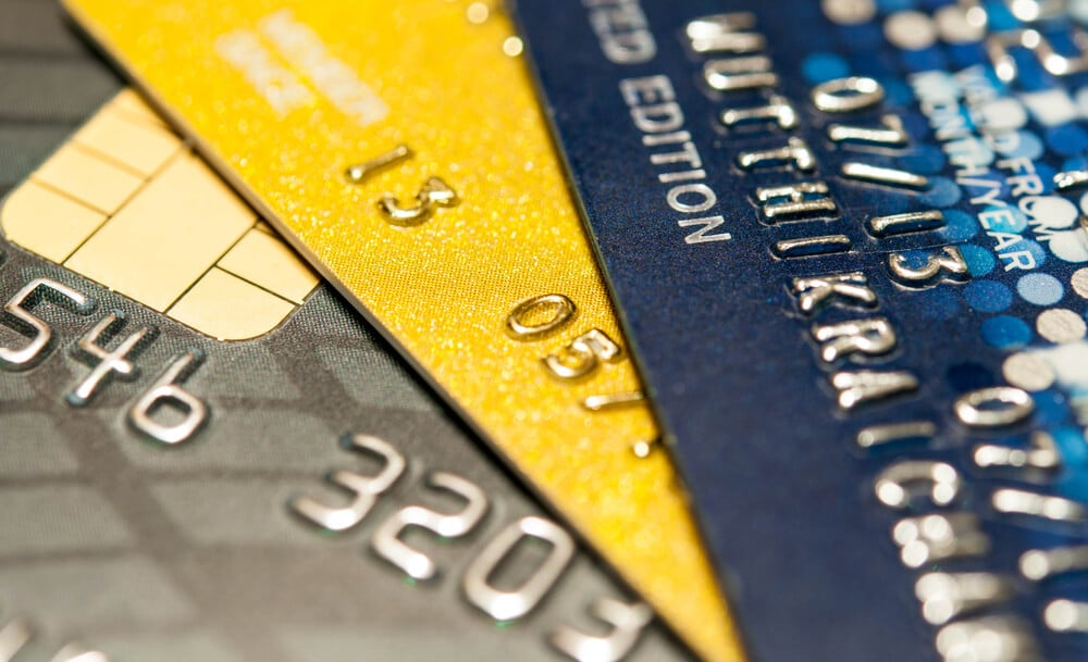 Close-up of three credit cards stacked together