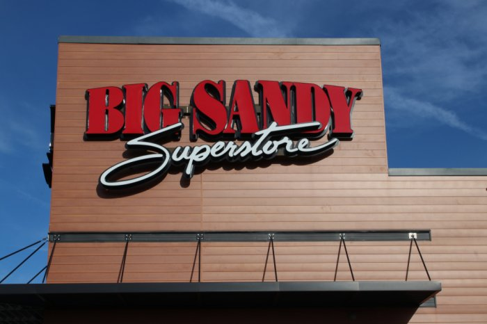 Sign above the entrance of a Big Sandy Superstore building