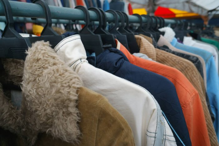 A rack of used clothing items