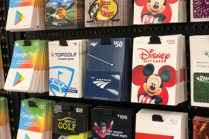 Gift cards on display at a store