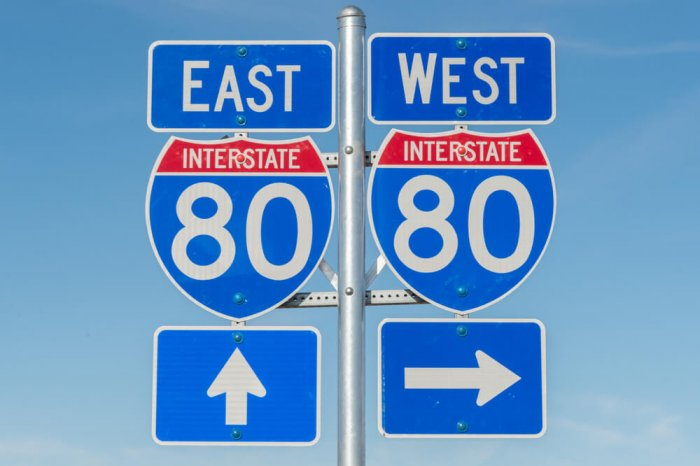 A road sign that points to an interstate going east and an interstate going west.
