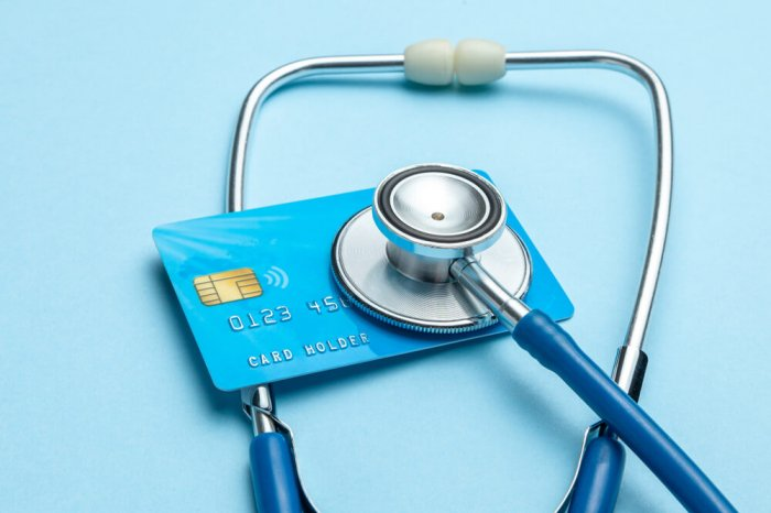 Credit card with stethoscope