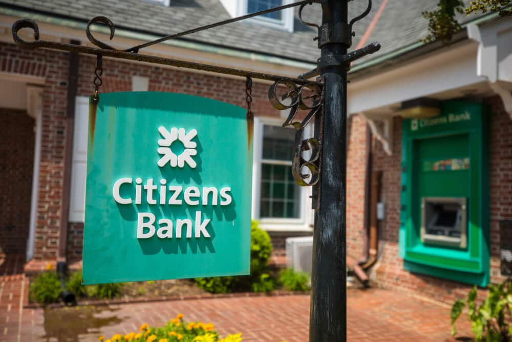 Exterior of a Citizens Bank branch with close-up logo sign