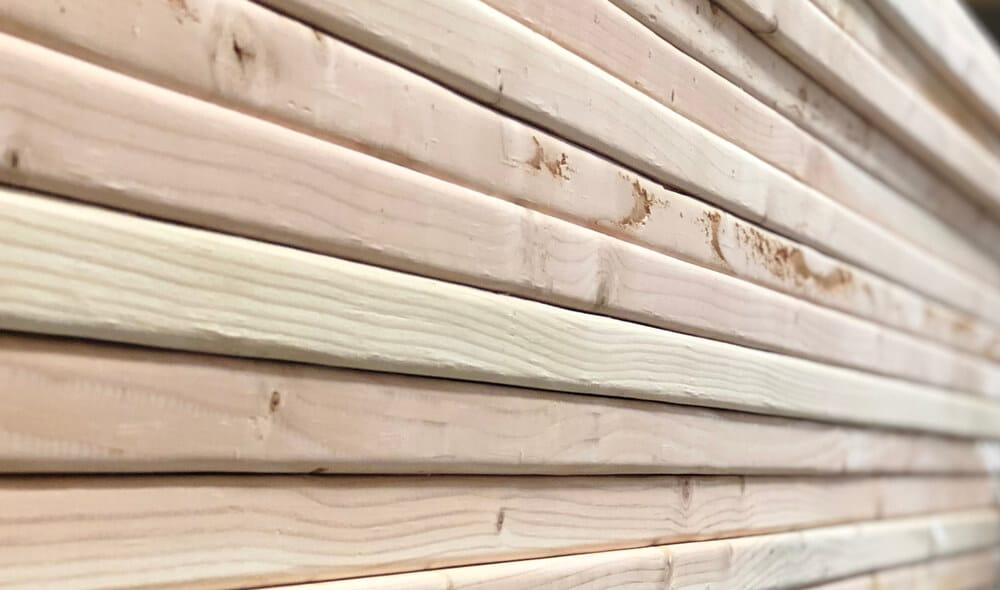 Close-up of a stack of lumber