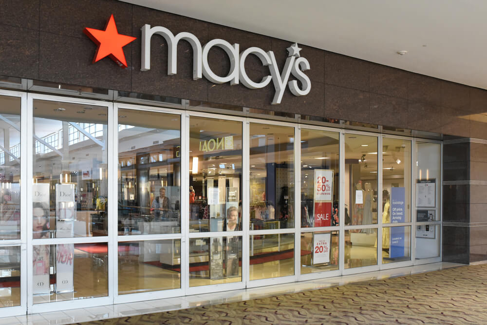 Exterior of a Macy's store in a mall