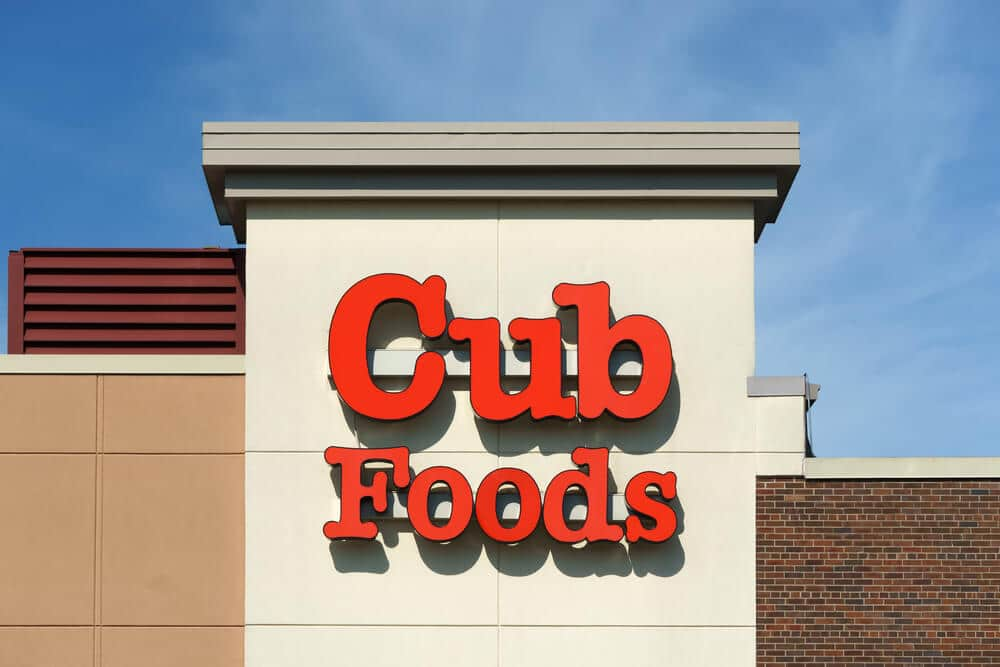 Cub Foods logo on the side of a building