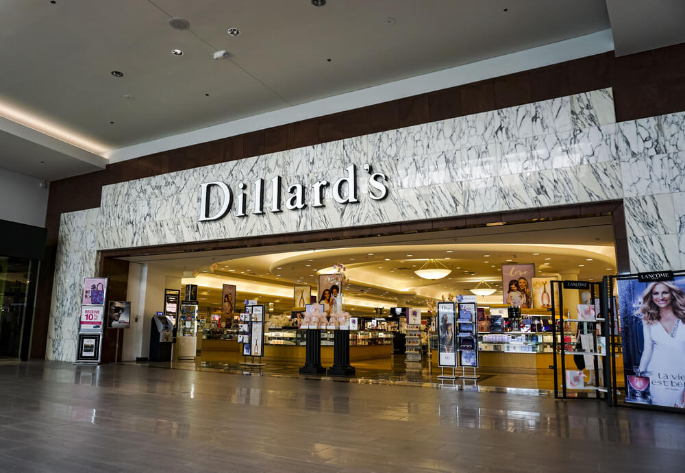 Dillard's storefront inside of a mall