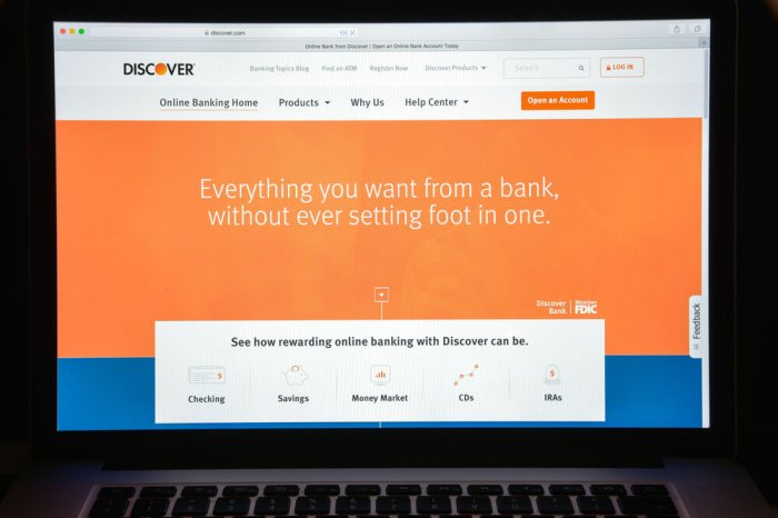 Discover online banking website open on a laptop