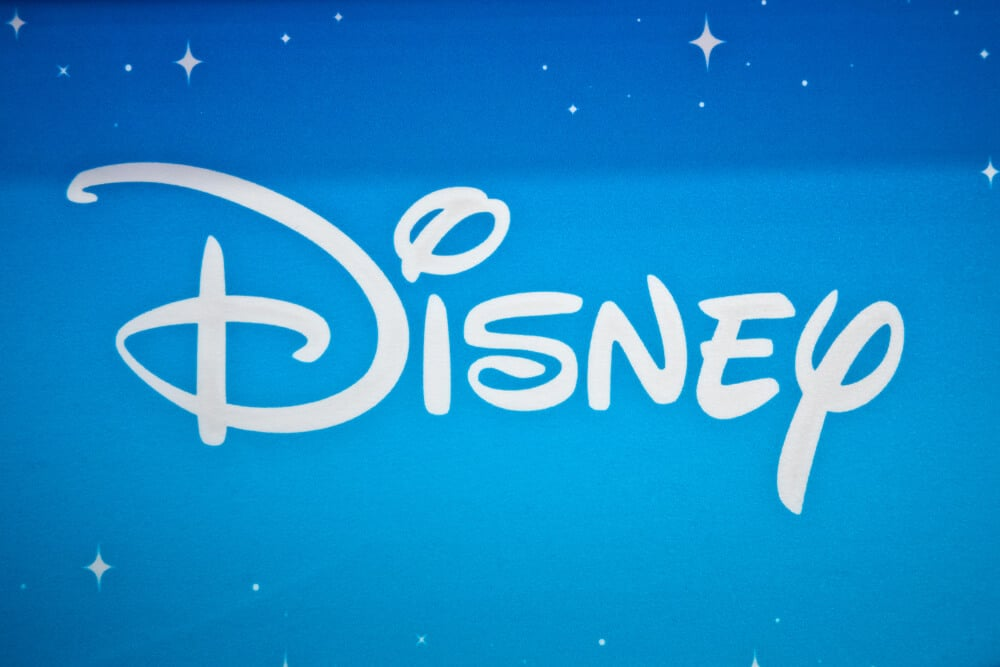 Disney logo on a blue banner