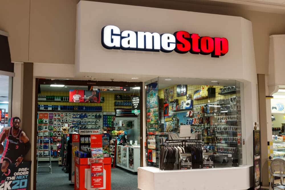 Entrance to a GameStop store inside of a mall