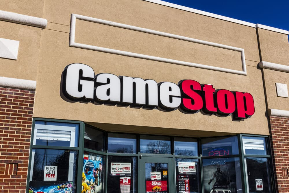 GameStop sign on strip mall storefront