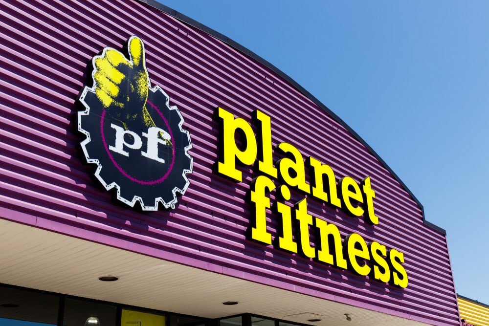A Planet Fitness sign on one of its locations.