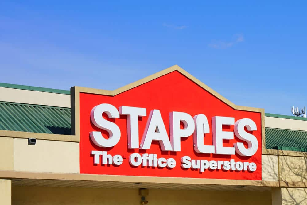 Sign on the outside of a Staples store