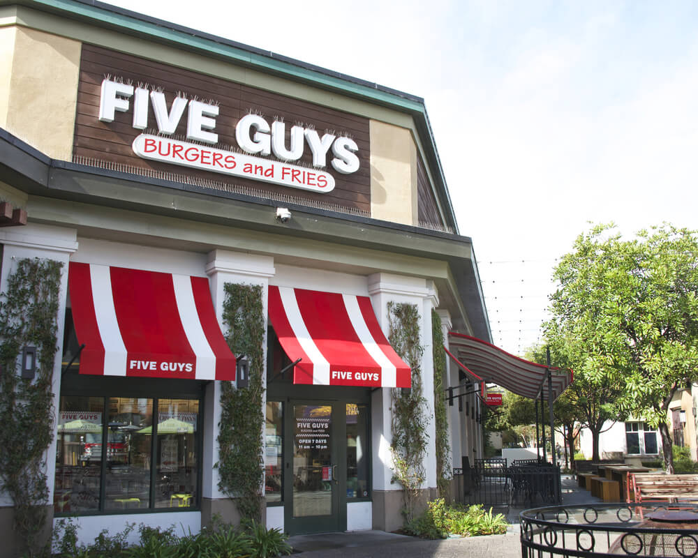 Five Guys restaurant storefront