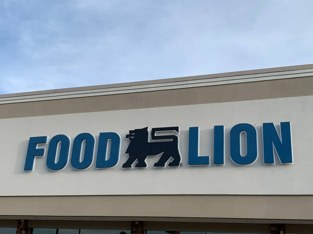 Logo sign on the outside of a Food Lion store building