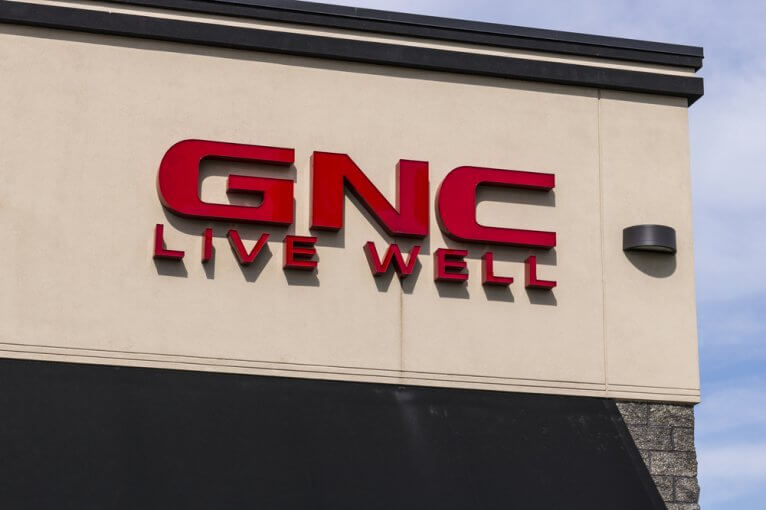 Sign on the exterior of a GNC store