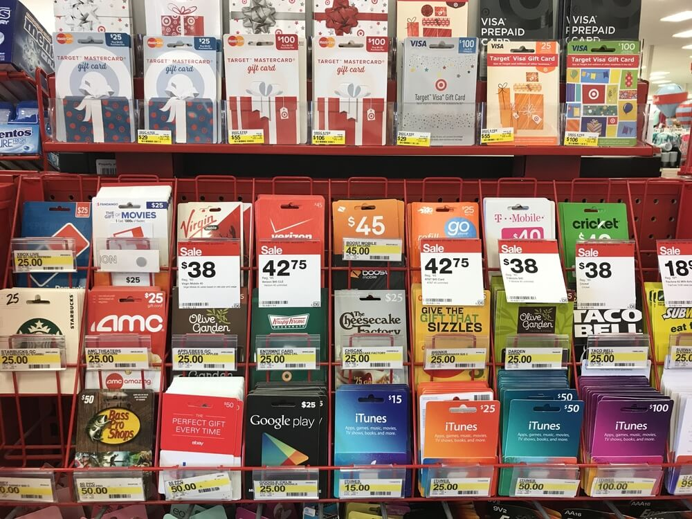 Target gift card sale display inside of a store