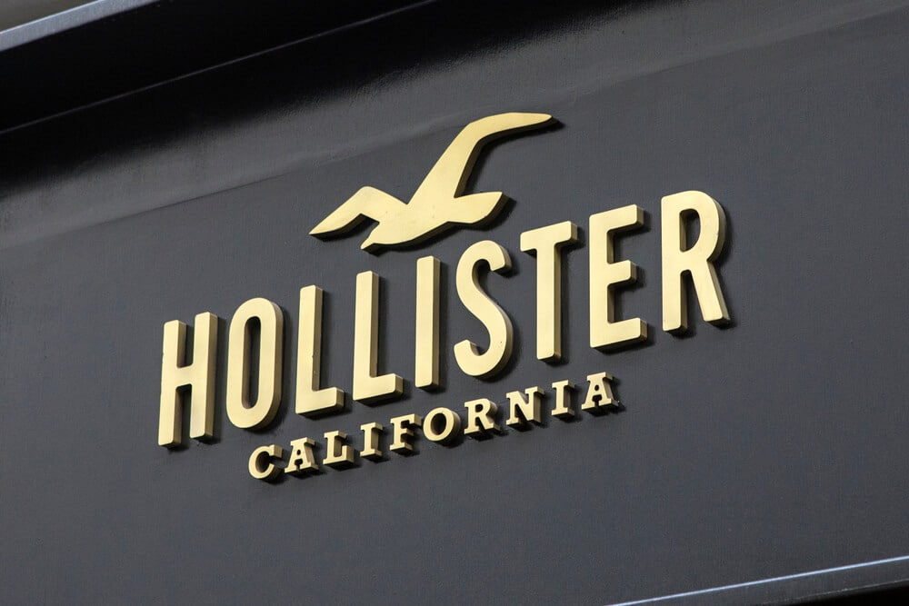 Logo sign on the exterior of a Hollister store