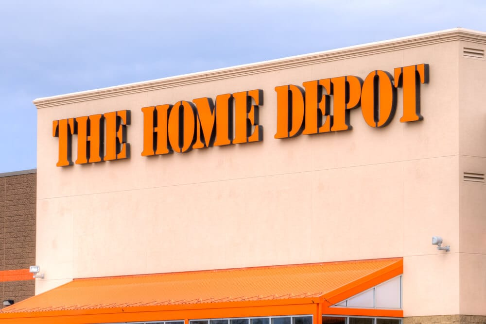 The Home Depot sign on storefront