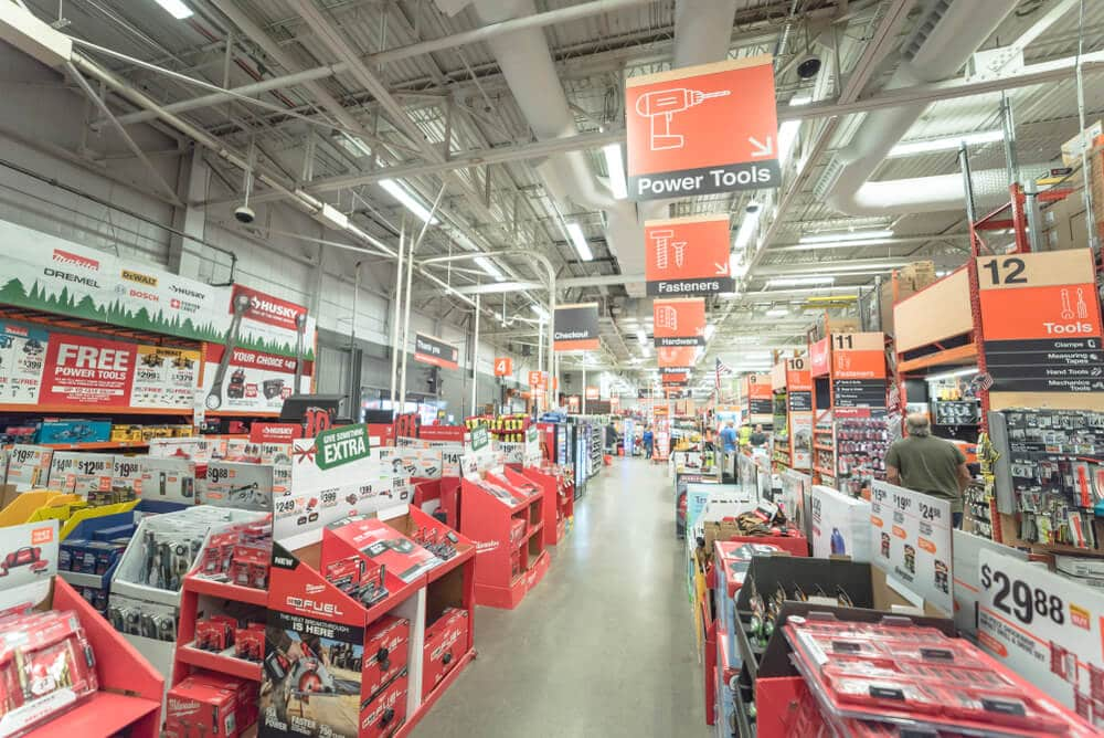 Home Depot power tool section of a store