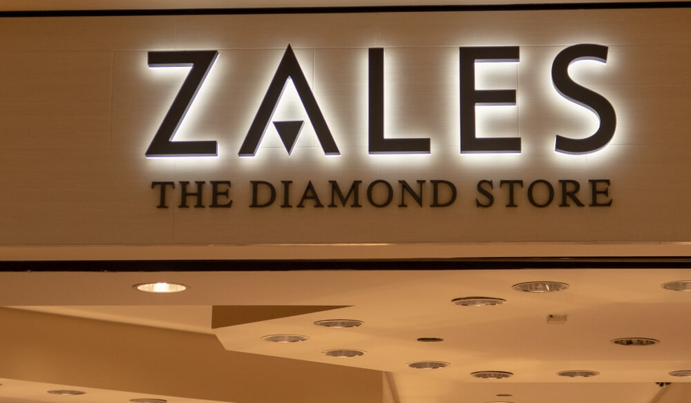 A Zales sign on the outside of a store.