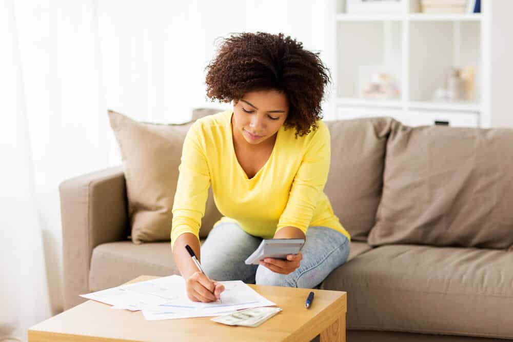 Woman creating a budget