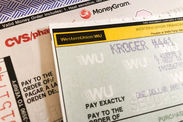 MoneyGram and Western Union money orders ready to fill out