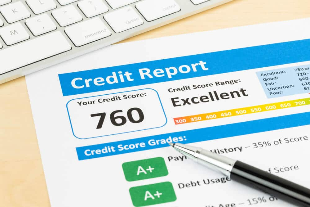 Credit report showing an improved score of 760