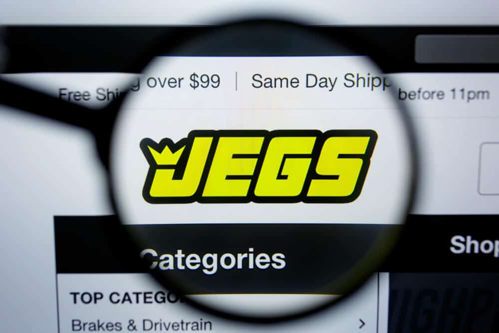 JEGS logo under a magnifying glass