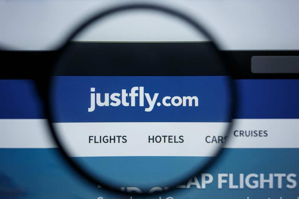 JustFly website shown on a computer screen