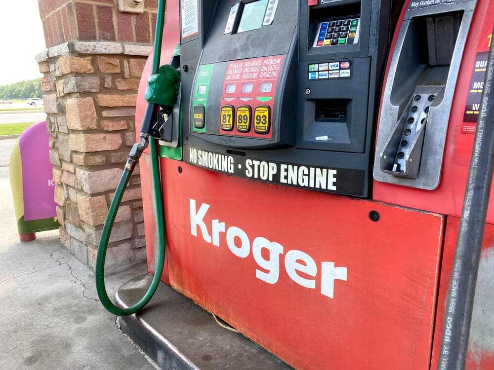 Red gas pump at a Kroger gas station