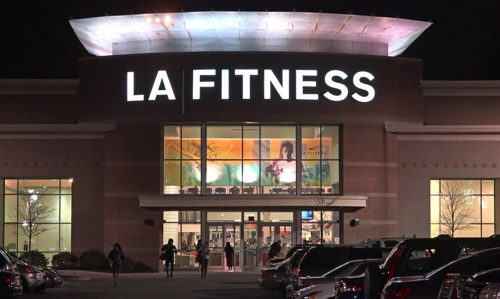 Front of an LA Fitness gym at night