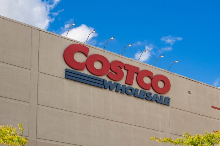 Logo sign on the outside of a Costco store