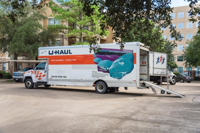 U-Haul moving truck that's about to go a long distance is being loaded.
