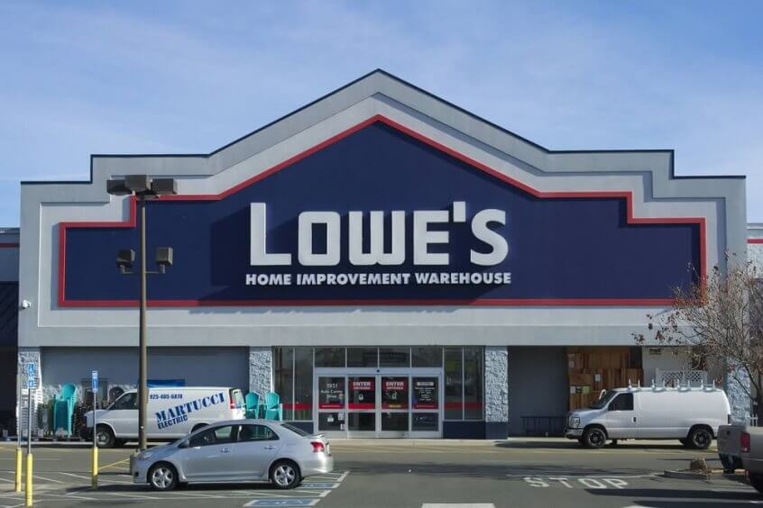 Lowe's home improvement store parking lot and storefront