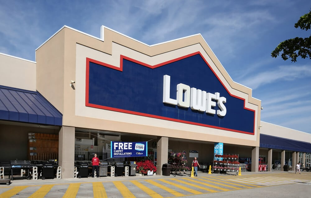 Front entrance of a Lowe's store