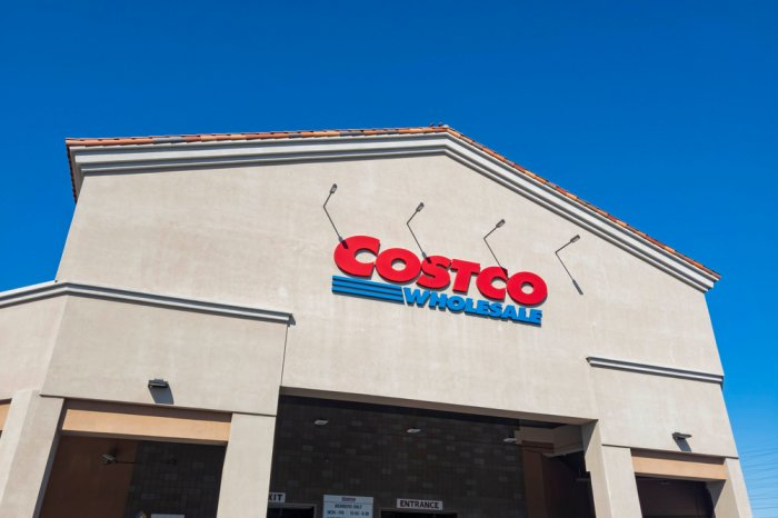 Exterior of a Costco store's front entrance