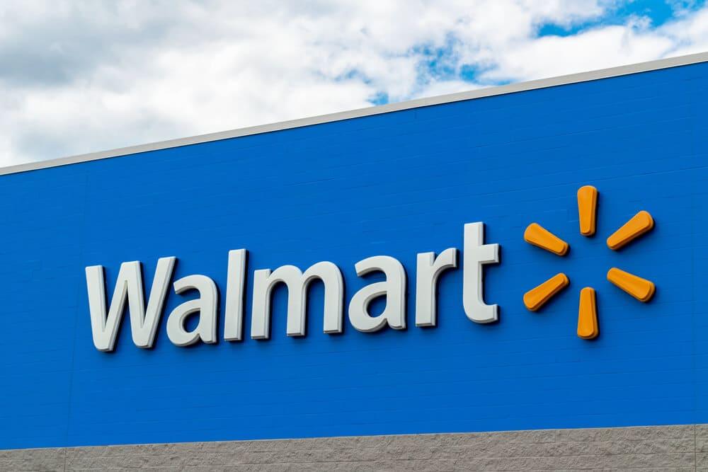 Logo sign on the outside of a Walmart store building