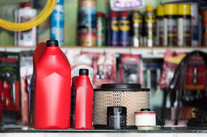 Oil containers and air filters in an auto parts shop