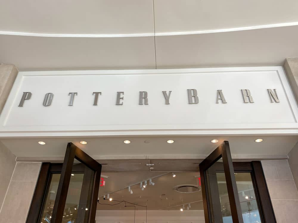 Pottery Barn sign above the front entrance of a store